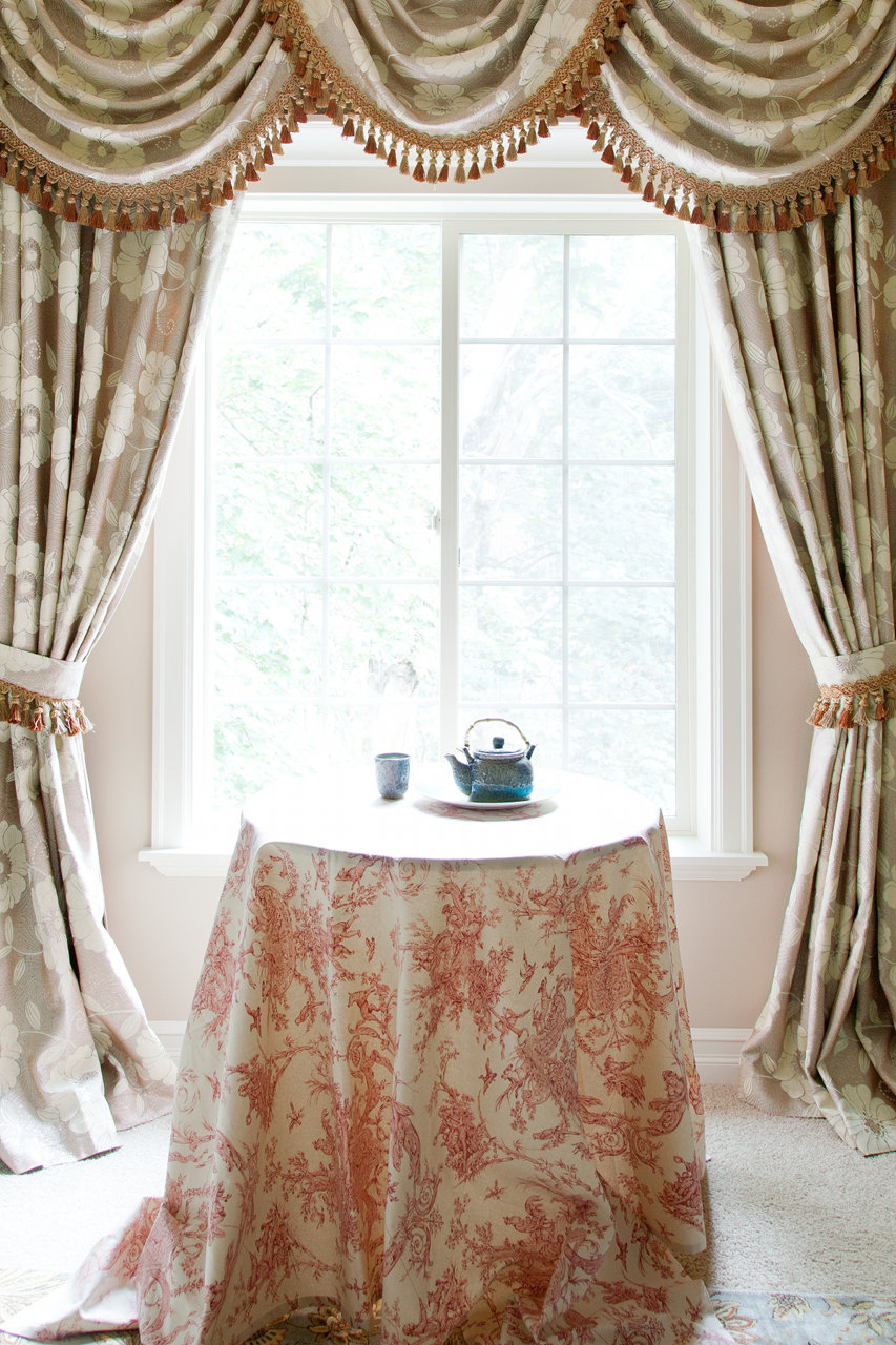 Green Camellia Swag Valances Curtain D Picture 1