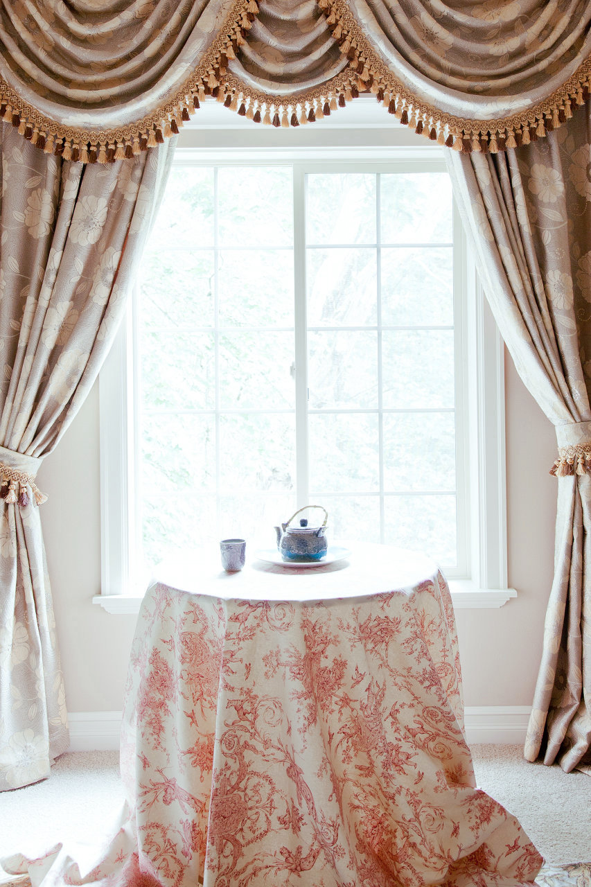 Pink Camellia Swags And Tails Valance Curtain Drapes
