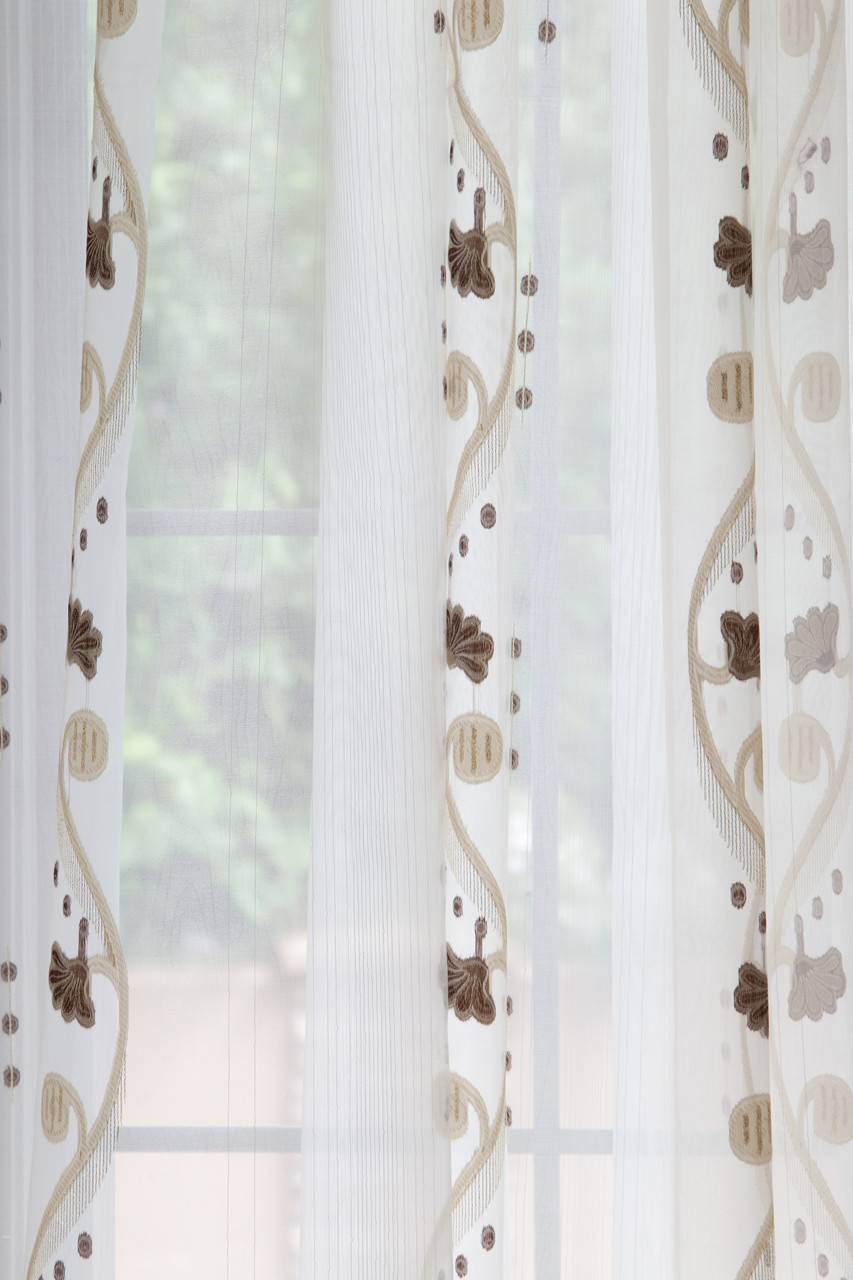 Picture Of Rose And Vine Sheer Curtains Chocolate