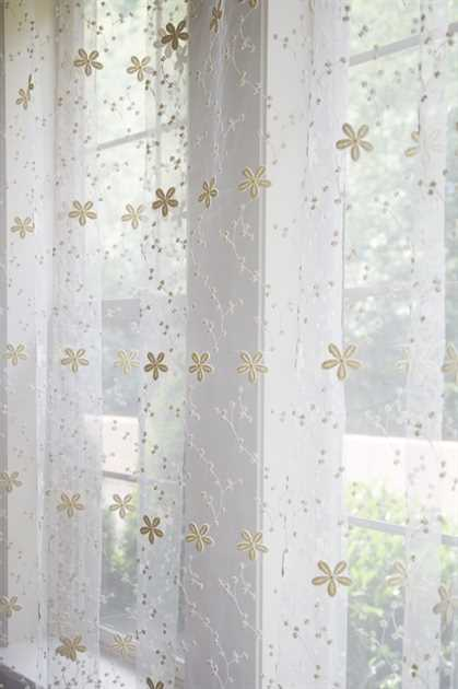 Picture of Cream Star Flower Sheer Curtains