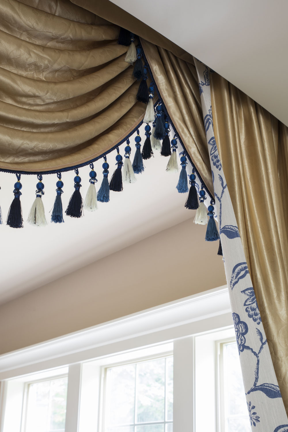 Classic Overlapping Swag Valances Curtain Drapes Blue And