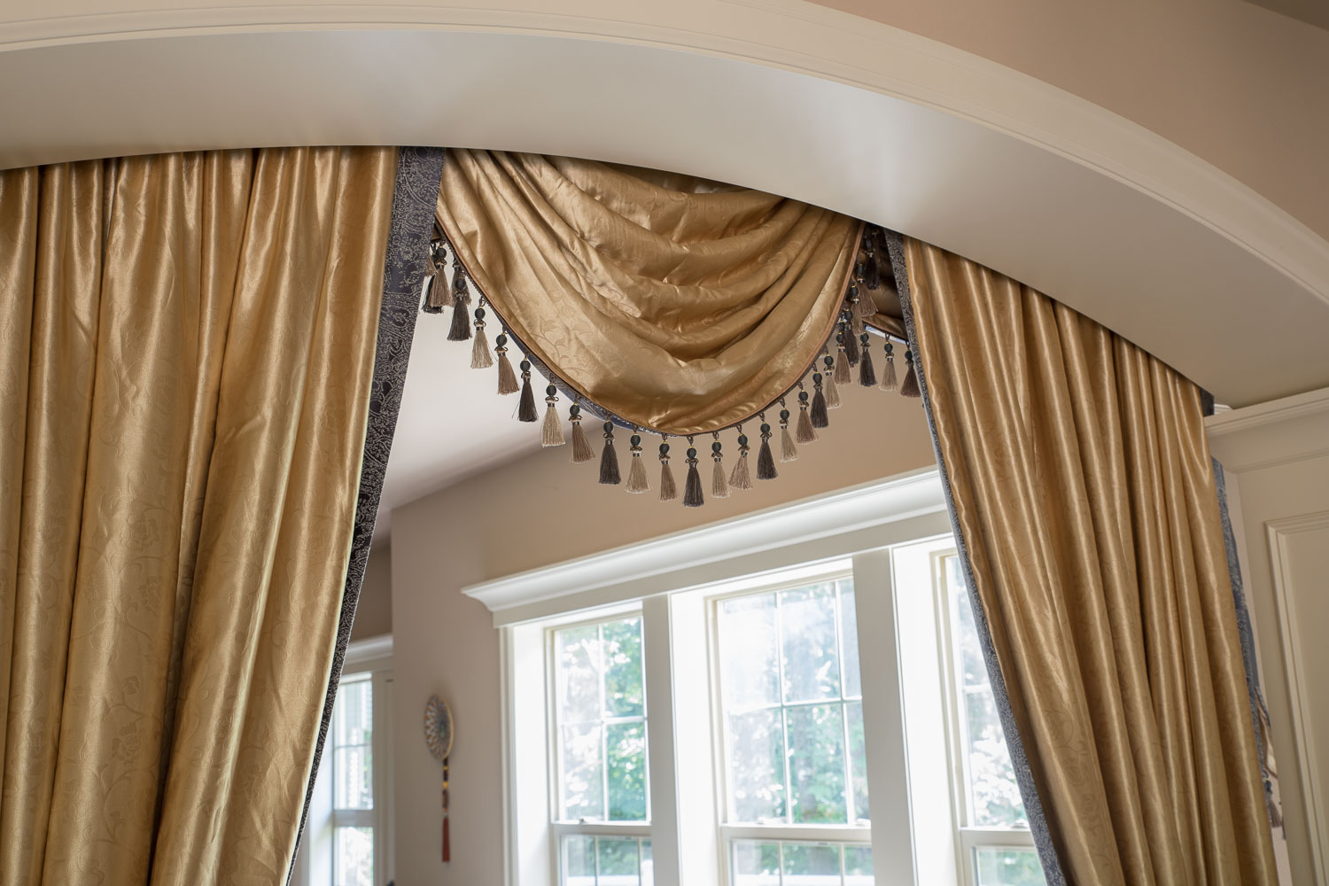 Classic Overlapping Swag Valances Curtain Drapes Gray Blue