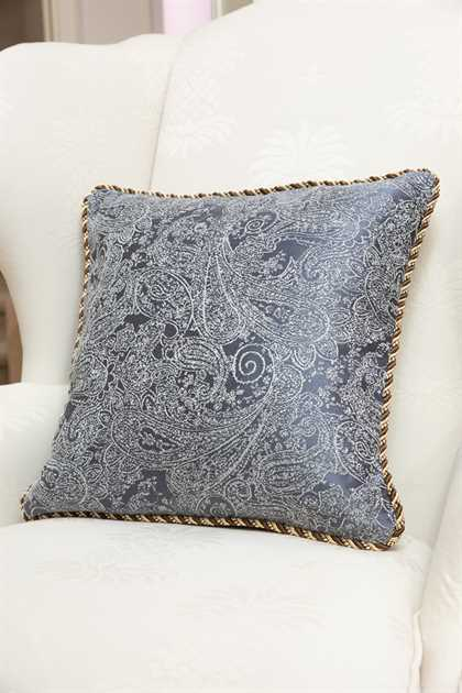 Picture of Gray Blue Paisley Pillow Case