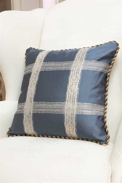 Picture of Gray Blue Plaid Pillow Case