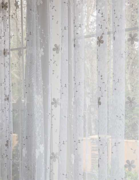 Picture of White Star Flower Sheer Curtains
