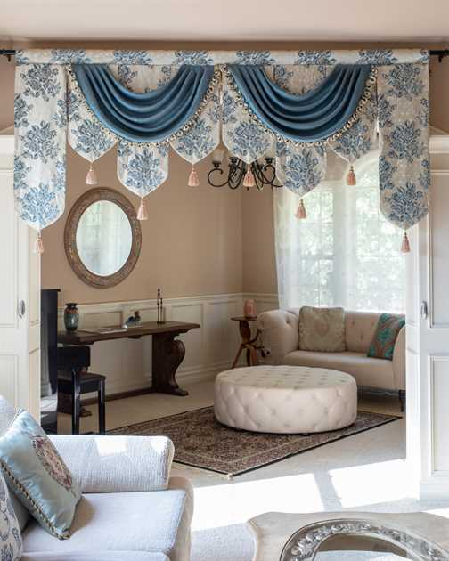 Picture of Rose Garden Blue - Palace Pelmet Swag Style