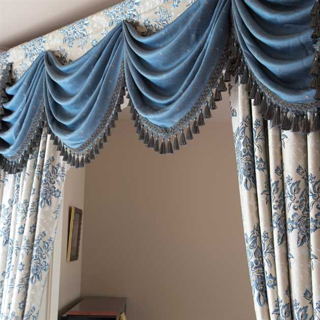 Picture of Rose Garden Blue - Austrian Pelmet Style